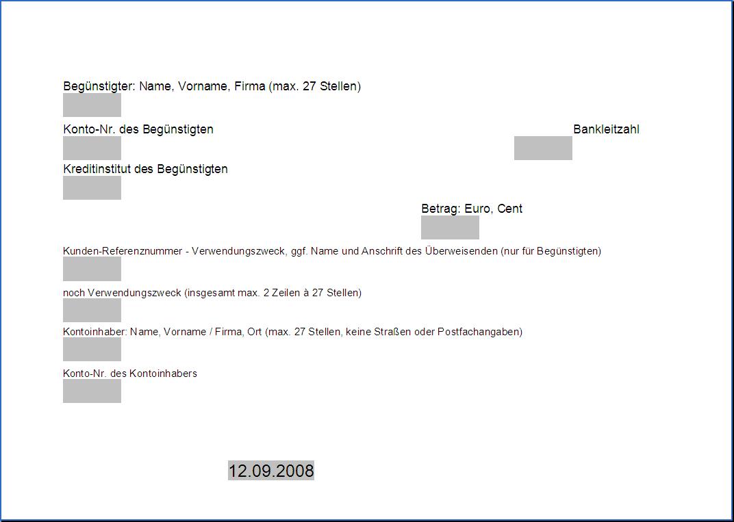 Gemütlich Banküberweisung Formularvorlage Bilder - Elektrische ...